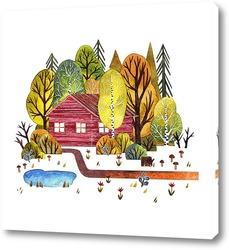 Постер Домик в лесу