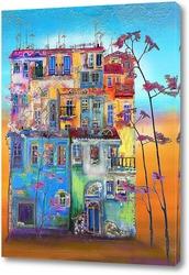 Картина Дома, деревья и пейзаж