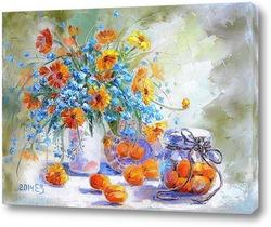 Постер Натюрморт с абрикосами и незабудками
