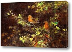 Красные птицы на ветвях