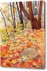Постер Осень. Еж в листьях.