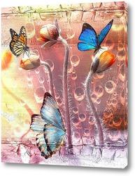 Бабочки и бутоны цветов