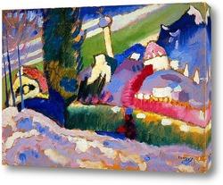 Постер Зимний пейзаж с церковью