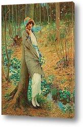Постер Женщина в весеннем пейзаже