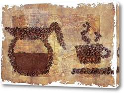 Постер Картина из зерен кофе