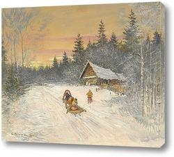 Зимняя сцена с тройкой, зимой катание на санях