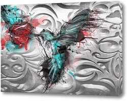 Постер Колибри с цветком