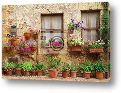Постер           Красивые улицы, украшенные цветами в Италии