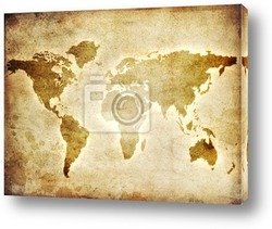 Постер Map of the world on the paper