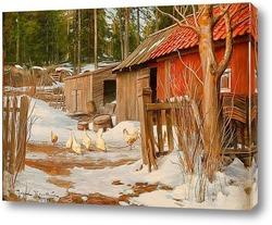 Постер Конец зимы, с хозяйственными постройками и клюют куры