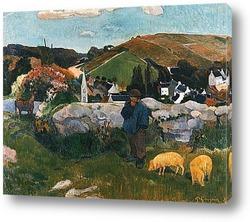 Бретонский пейзаж со свинопасом. 1888