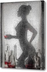 Постер Силуэт девушки за мокрым стеклом.