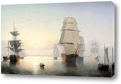 Гавань Бостона на закате