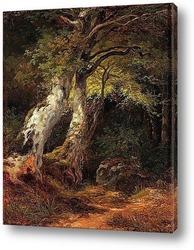 Романтический горный пейзаж с фигурой.