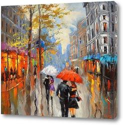 Картина Под красным зонтом