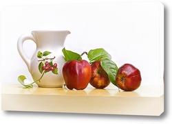 Постер С красными яблоками и кувшином