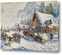 Русская деревня под снегом