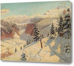 Картина Зимний Горный Перевал