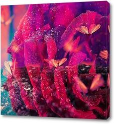 Постер Алая роза с бабочками