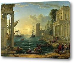 Морская гавань при закате дня