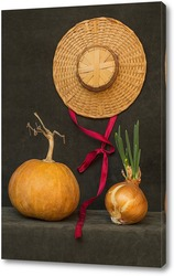 Постер Натюрморт с тыквой, луком и шляпой
