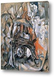 Постер Эйфелева башня с деревьями