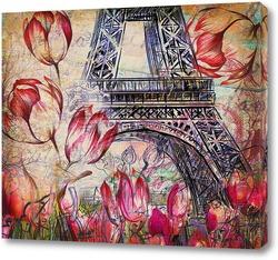 Постер Эйфелева башня с тюльпанами
