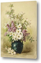 Картина Сирень и кизил в синей вазе