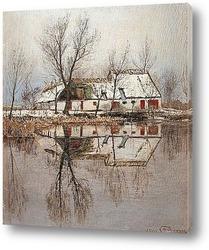 Картина Мартовский день на пруду