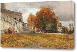Постер Отдыхая в нижней части лестницы замка