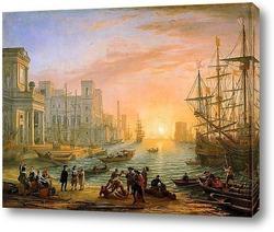 Постер Морская гавань при закате дня