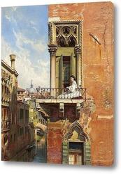 Картина Анна Пассини на балконе Палаццо Приули в Венеции