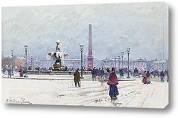 Картина Площадь Согласия под снегом