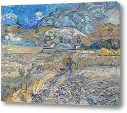Постер Закрытое поле с крестьянином (также известный как Пейзаж в Сен-Р