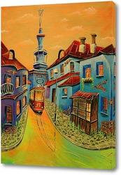 Картина Триптих.  Городок. Красный трамвай.