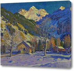 Картина Первый снег в Kandersteg