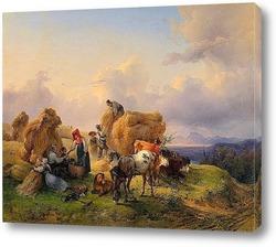 Картина Уборки в предгорьях Альп