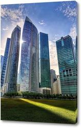 Центр города-горизонт Сингапура в сумерках