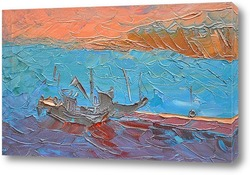 Картина Пристань с кораблями