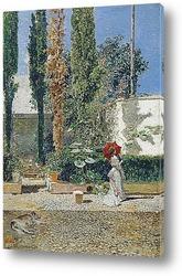 Пруд в сады Реал Алькасар в Севилье