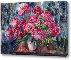 Картина Пионы вишневые с нежной листвою