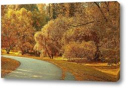 Картина Аллея в парке на фоне жёлтых, осенних деревьев