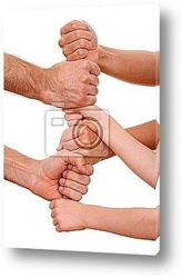 lots of human hands isolated on white - trust concept
