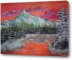 Картина персиковые горы зима