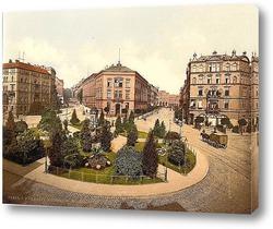 Постер Фридрих-Вильгельм Платц, Кассель, Гессен-Нассау, Германия.1890-1900 гг