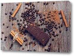 Постер Шоколад, кофе и корица
