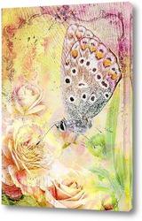 Бабочка в розах
