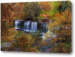 Постер живописный водопад осенью