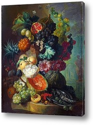 Фрукты, цветы и рыба (Лондон, Нац. галерея)