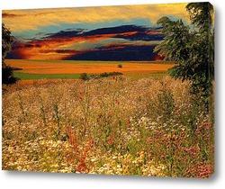 Постер цветочный закат